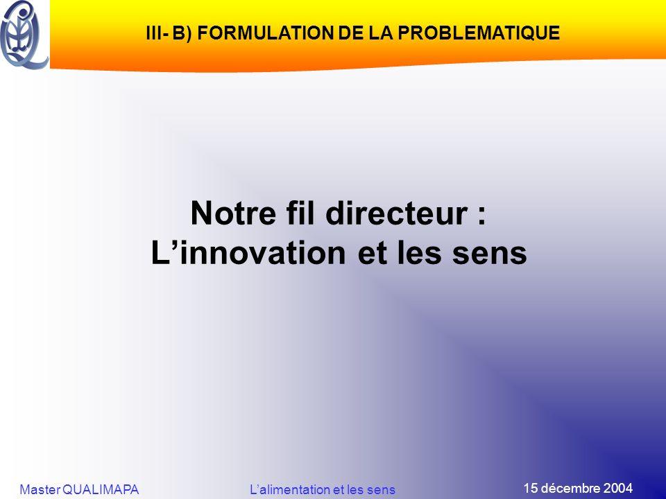 15 décembre 2004 Master QUALIMAPALalimentation et les sens Notre fil directeur : Linnovation et les sens III- B) FORMULATION DE LA PROBLEMATIQUE