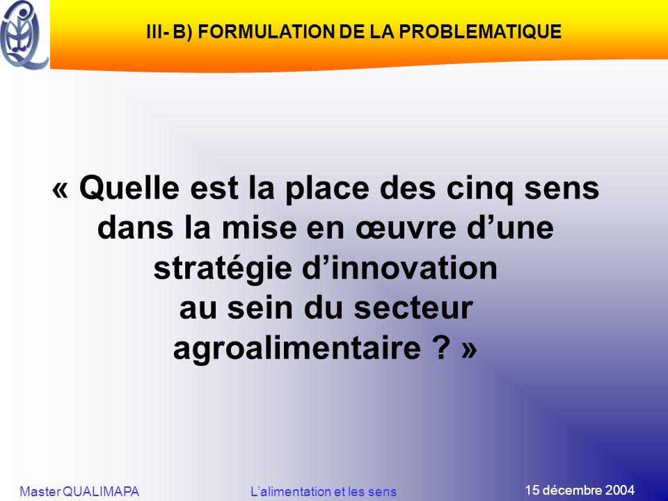 15 décembre 2004 Master QUALIMAPALalimentation et les sens « Quelle est la place des cinq sens dans la mise en œuvre dune stratégie dinnovation au sei