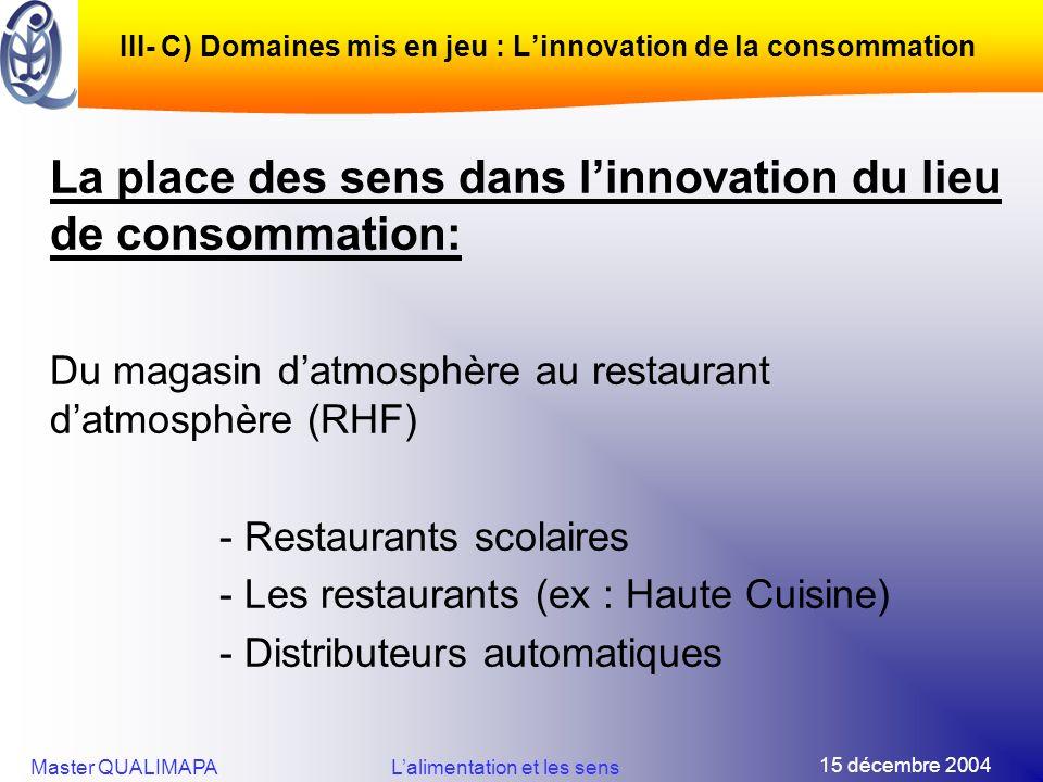 15 décembre 2004 Master QUALIMAPALalimentation et les sens III- C) Domaines mis en jeu : Linnovation de la consommation La place des sens dans linnova