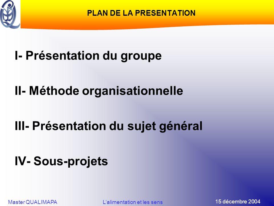 15 décembre 2004 Master QUALIMAPALalimentation et les sens PLAN DE LA PRESENTATION I- Présentation du groupe II- Méthode organisationnelle III- Présen