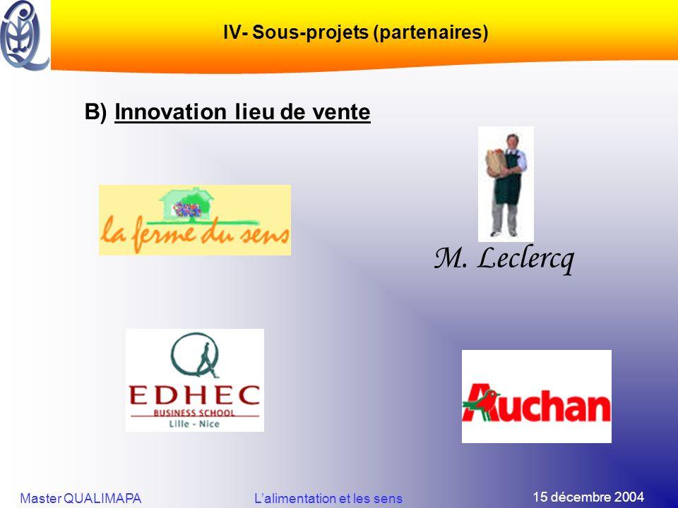 15 décembre 2004 Master QUALIMAPALalimentation et les sens IV- Sous-projets (partenaires) B) Innovation lieu de vente M. Leclercq