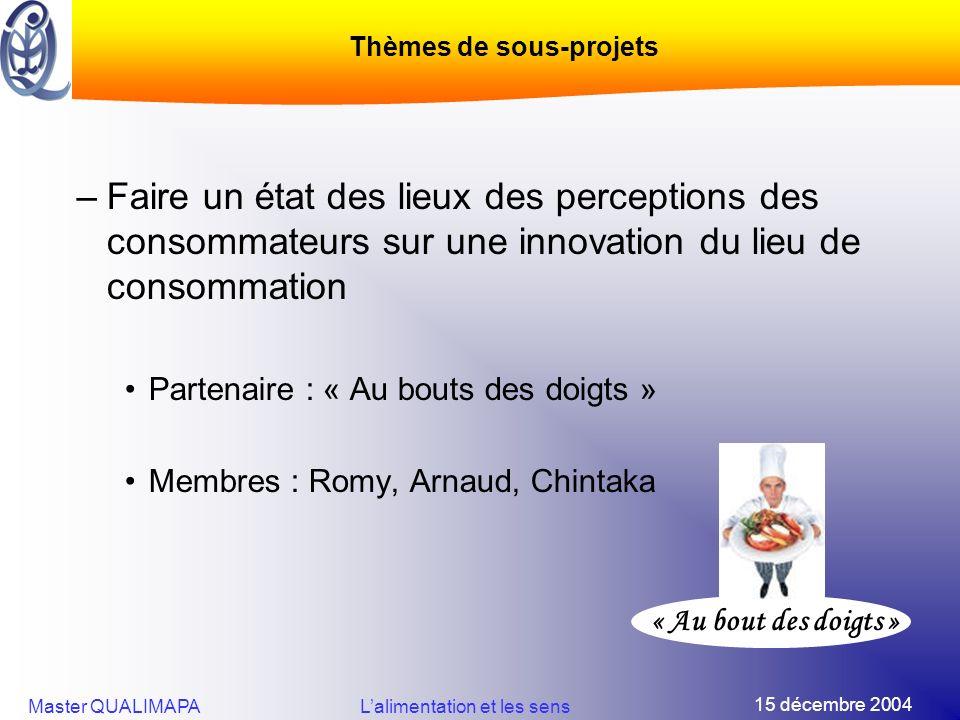15 décembre 2004 Master QUALIMAPALalimentation et les sens –Faire un état des lieux des perceptions des consommateurs sur une innovation du lieu de co