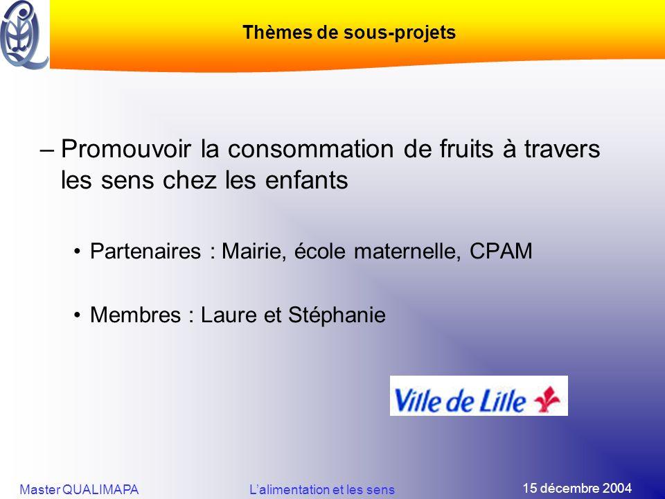 15 décembre 2004 Master QUALIMAPALalimentation et les sens –Promouvoir la consommation de fruits à travers les sens chez les enfants Partenaires : Mai