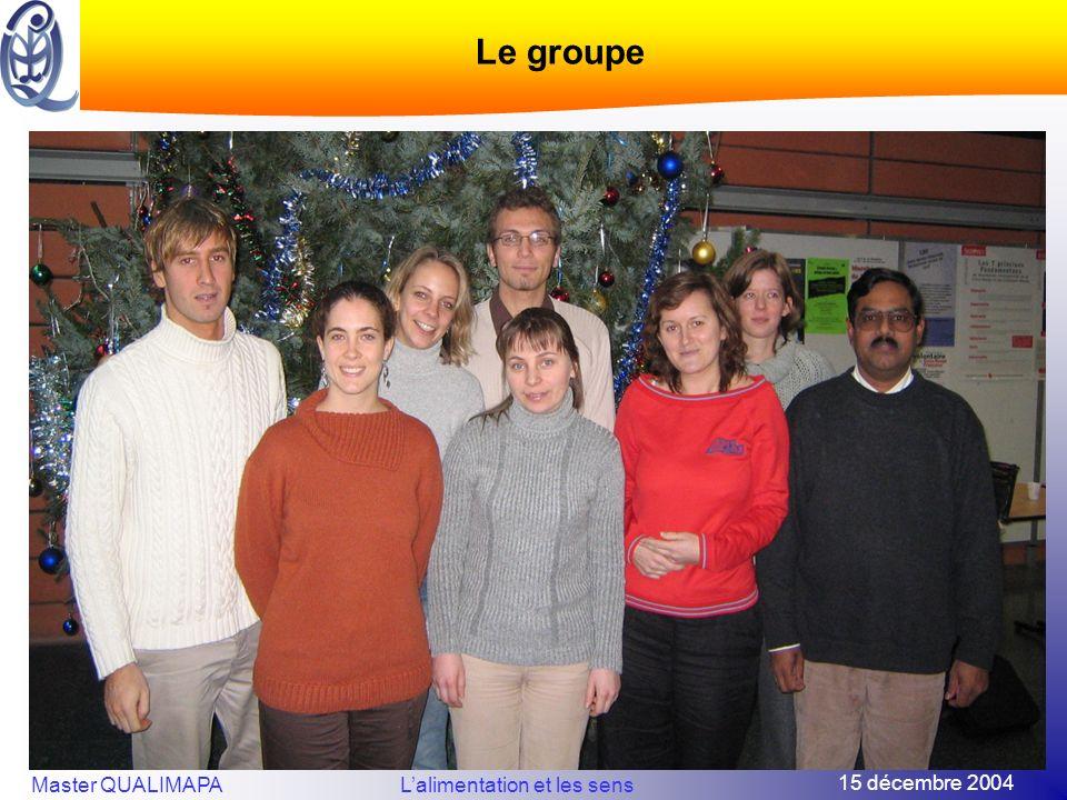 15 décembre 2004 Master QUALIMAPALalimentation et les sens Le groupe