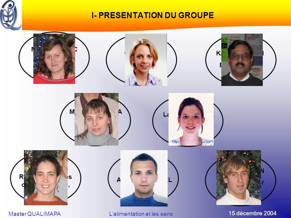 15 décembre 2004 Master QUALIMAPALalimentation et les sens I- PRESENTATION DU GROUPE Michèle MARIC Responsable de Projet Stéphanie CHEVALIER Animatric