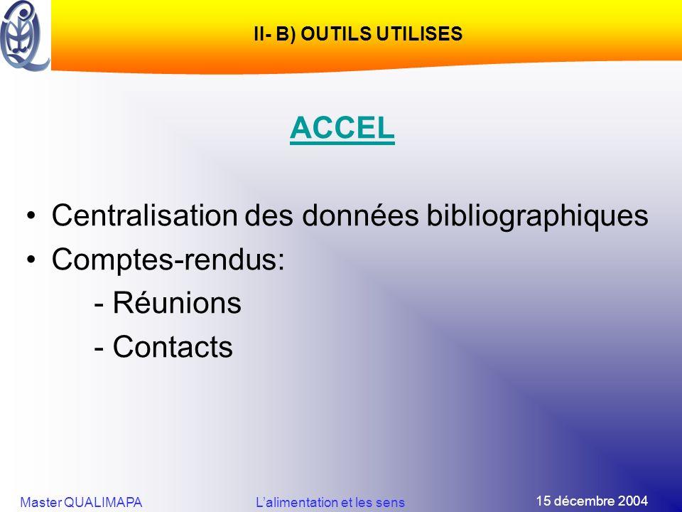 15 décembre 2004 Master QUALIMAPALalimentation et les sens II- B) OUTILS UTILISES ACCEL Centralisation des données bibliographiques Comptes-rendus: -