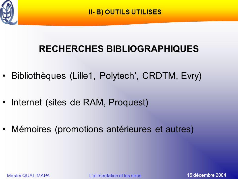 15 décembre 2004 Master QUALIMAPALalimentation et les sens II- B) OUTILS UTILISES RECHERCHES BIBLIOGRAPHIQUES Bibliothèques (Lille1, Polytech, CRDTM,