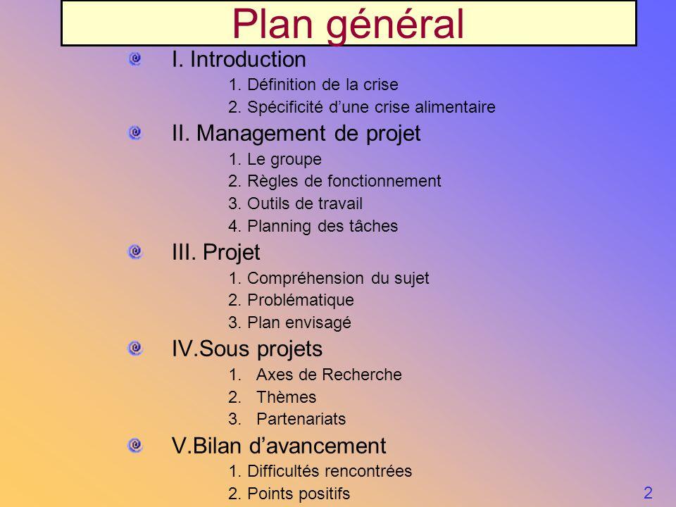 I. Introduction 1. Définition de la crise 2. Spécificité dune crise alimentaire II. Management de projet 1. Le groupe 2. Règles de fonctionnement 3. O