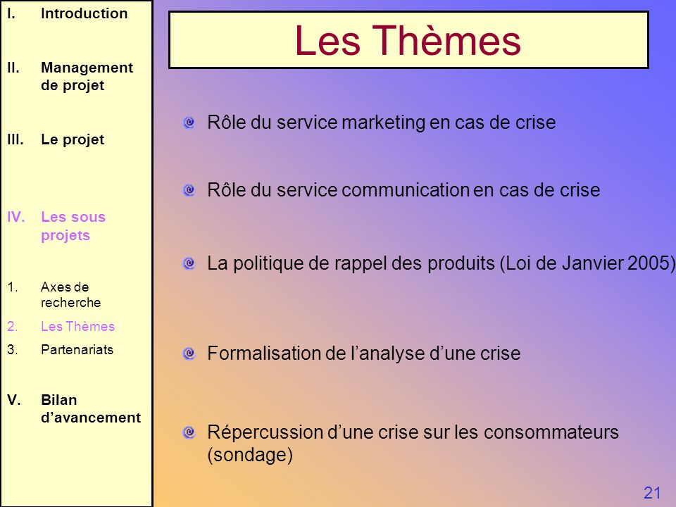 I.Introduction II.Management de projet III.Le projet IV.Les sous projets 1.Axes de recherche 2.Les Thèmes 3.Partenariats V.Bilan davancement Les Thème