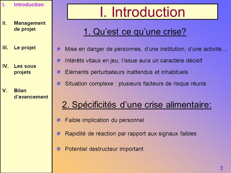 I. Introduction 3 1. Quest ce quune crise? 2. Spécificités dune crise alimentaire: Mise en danger de personnes, dune institution, dune activité… Intér
