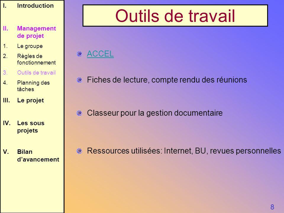 8 I.Introduction II.Management de projet 1.Le groupe 2.Règles de fonctionnement 3.Outils de travail 4.Planning des tâches III.Le projet IV.Les sous pr