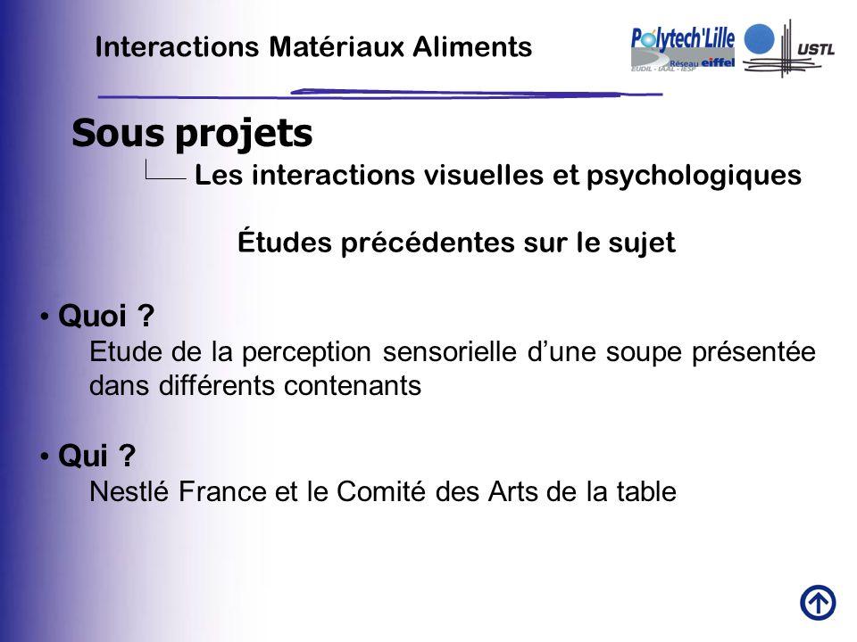 Sous projets Interactions Matériaux Aliments Les interactions visuelles et psychologiques Quoi ? Etude de la perception sensorielle dune soupe présent