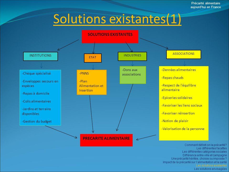 Solutions existantes(1) Précarité alimentaire aujourdhui en France Comment définit-on la précarité? Les différentes facettes Les différentes catégorie