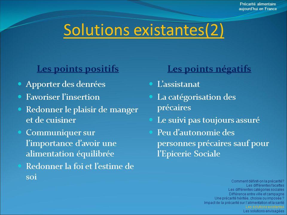 Solutions existantes(2) Les points positifs Les points négatifs Apporter des denrées Favoriser linsertion Redonner le plaisir de manger et de cuisiner