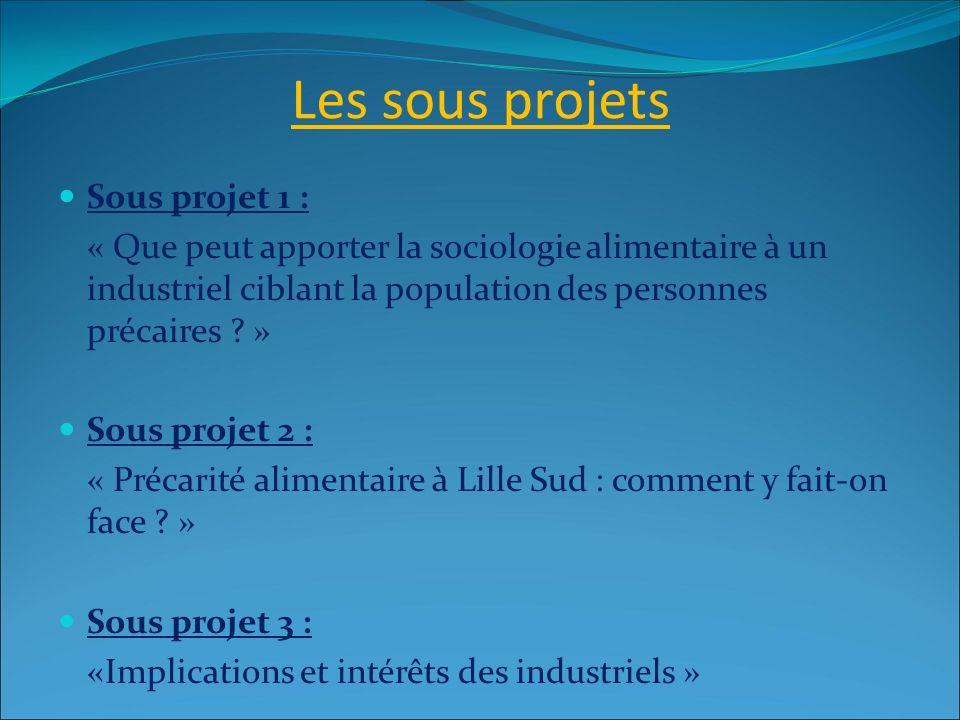 Les sous projets Sous projet 1 : « Que peut apporter la sociologie alimentaire à un industriel ciblant la population des personnes précaires ? » Sous