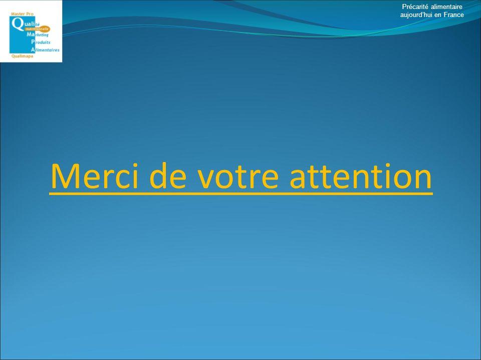 Précarité alimentaire aujourdhui en France Merci de votre attention