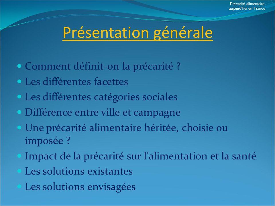 Présentation générale Comment définit-on la précarité ? Les différentes facettes Les différentes catégories sociales Différence entre ville et campagn