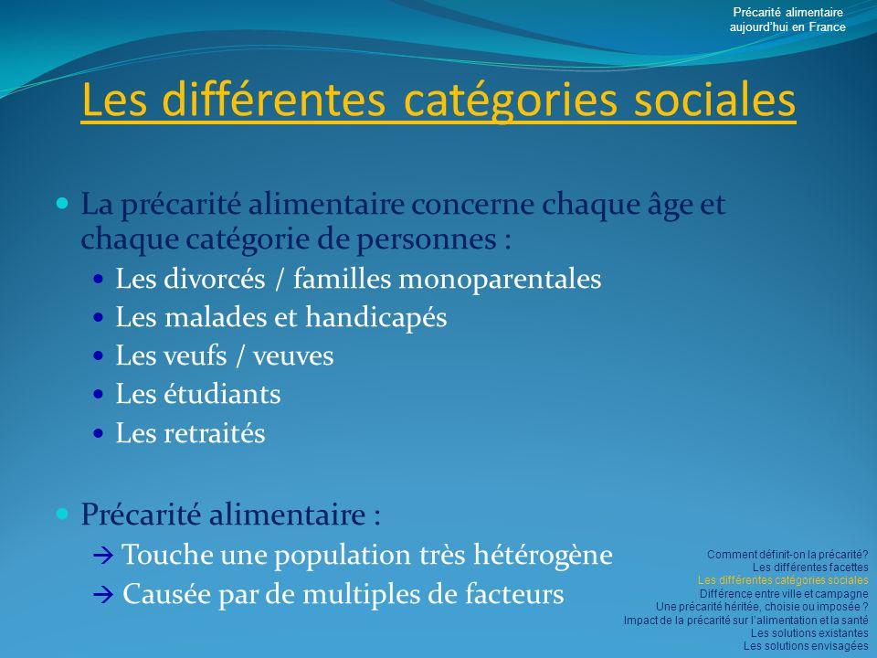 Les différentes catégories sociales La précarité alimentaire concerne chaque âge et chaque catégorie de personnes : Les divorcés / familles monoparent