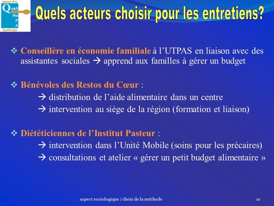 aspect sociologique / choix de la méthode10 Conseillère en économie familiale à lUTPAS en liaison avec des assistantes sociales apprend aux familles à