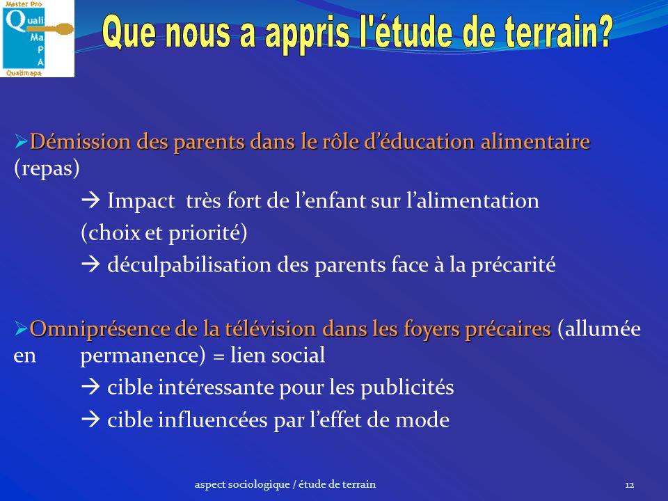 aspect sociologique / étude de terrain12 Démission des parents dans le rôle déducation alimentaire Démission des parents dans le rôle déducation alime