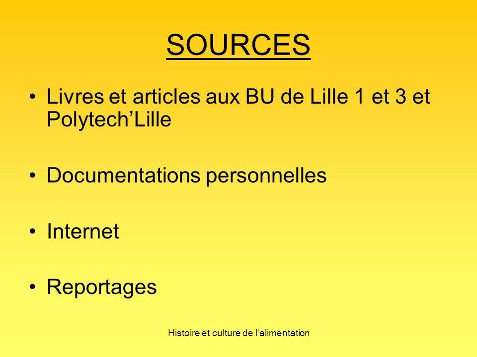 Histoire et culture de l alimentation SOURCES Livres et articles aux BU de Lille 1 et 3 et PolytechLille Documentations personnelles Internet Reportages