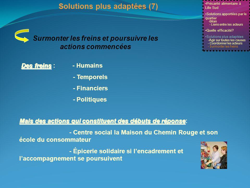 Précarité alimentaire à Lille Sud Solutions apportées par le quartier -Bilan - Liens entre les acteurs Quelle efficacité? Solutions plus adaptées -A g