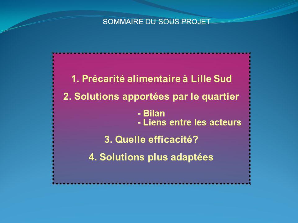 1. Précarité alimentaire à Lille Sud 2. Solutions apportées par le quartier - Bilan - Liens entre les acteurs 3. Quelle efficacité? 4. Solutions plus