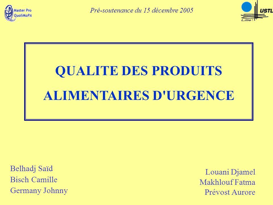 QUALITE DES PRODUITS ALIMENTAIRES D'URGENCE Pré-soutenance du 15 décembre 2005 Belhadj Saïd Bisch Camille Germany Johnny Louani Djamel Makhlouf Fatma