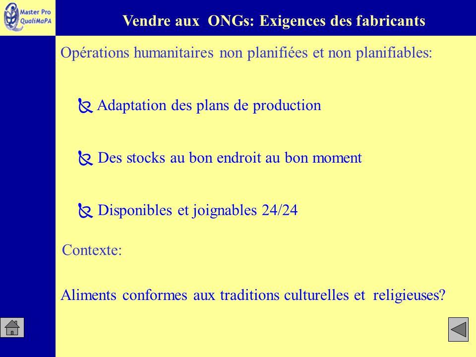Vendre aux ONGs: Exigences des fabricants Opérations humanitaires non planifiées et non planifiables: Des stocks au bon endroit au bon moment Disponib