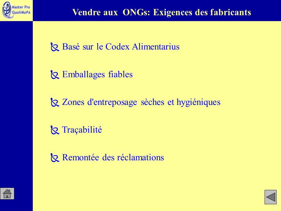 Traçabilité Remontée des réclamations Basé sur le Codex Alimentarius Emballages fiables Zones d'entreposage sèches et hygiéniques Vendre aux ONGs: Exi