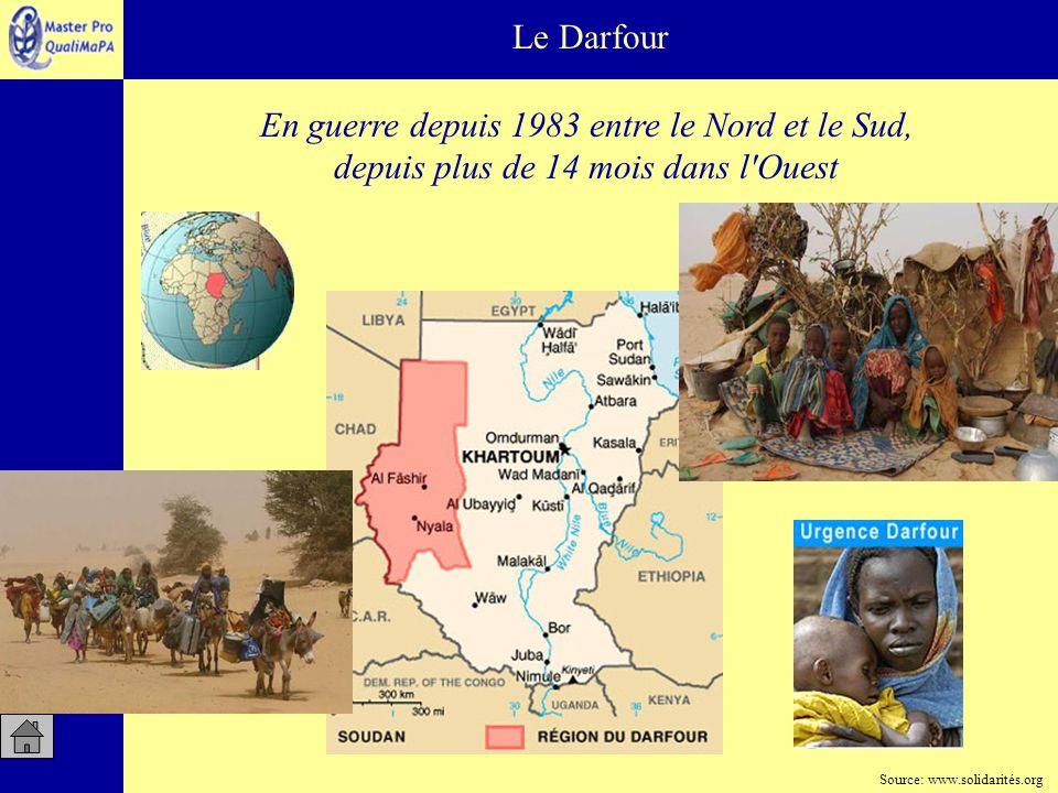 Le Darfour En guerre depuis 1983 entre le Nord et le Sud, depuis plus de 14 mois dans l'Ouest Source: www.solidarités.org
