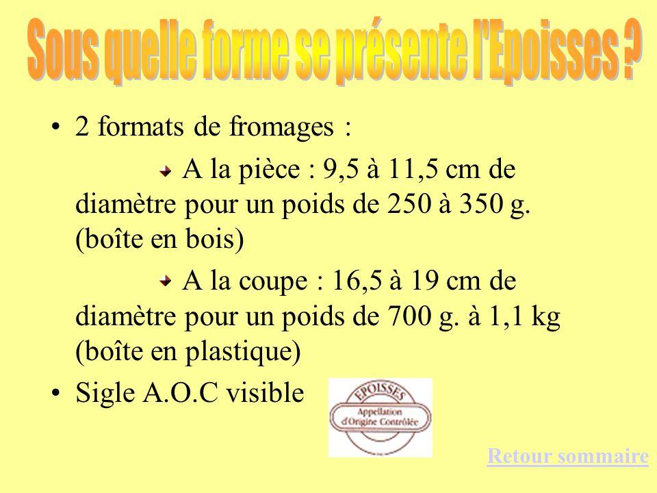 2 formats de fromages : A la pièce : 9,5 à 11,5 cm de diamètre pour un poids de 250 à 350 g. (boîte en bois) A la coupe : 16,5 à 19 cm de diamètre pou