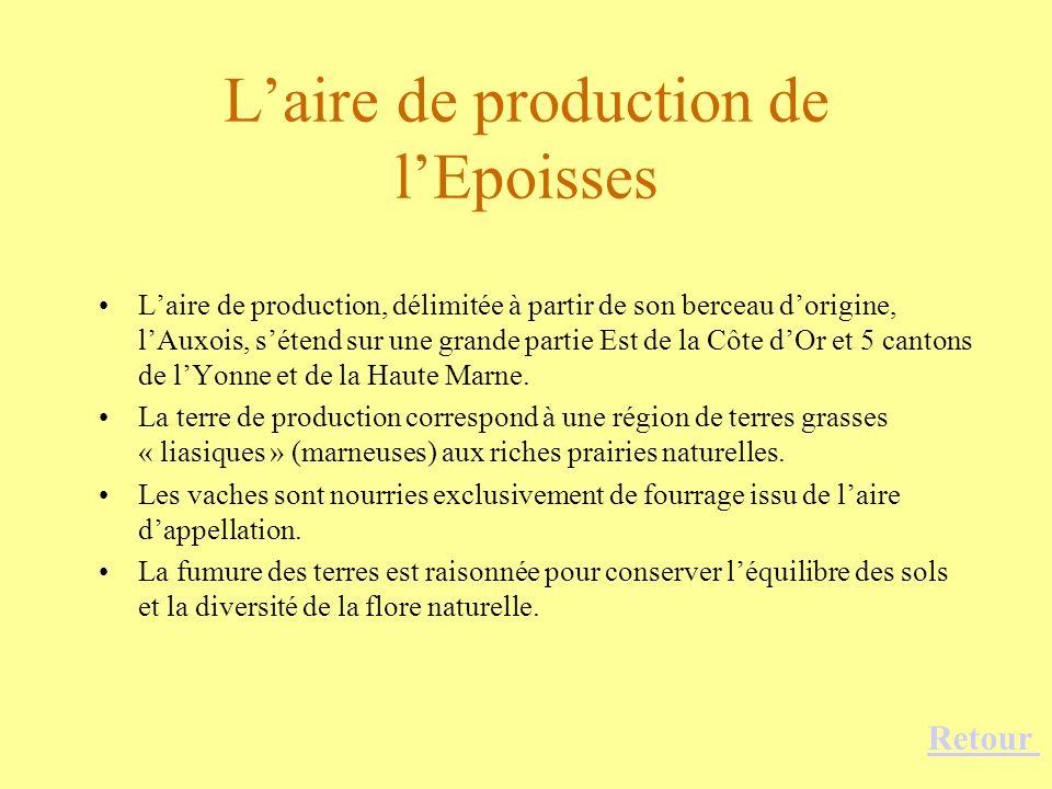 Laire de production de lEpoisses Laire de production, délimitée à partir de son berceau dorigine, lAuxois, sétend sur une grande partie Est de la Côte