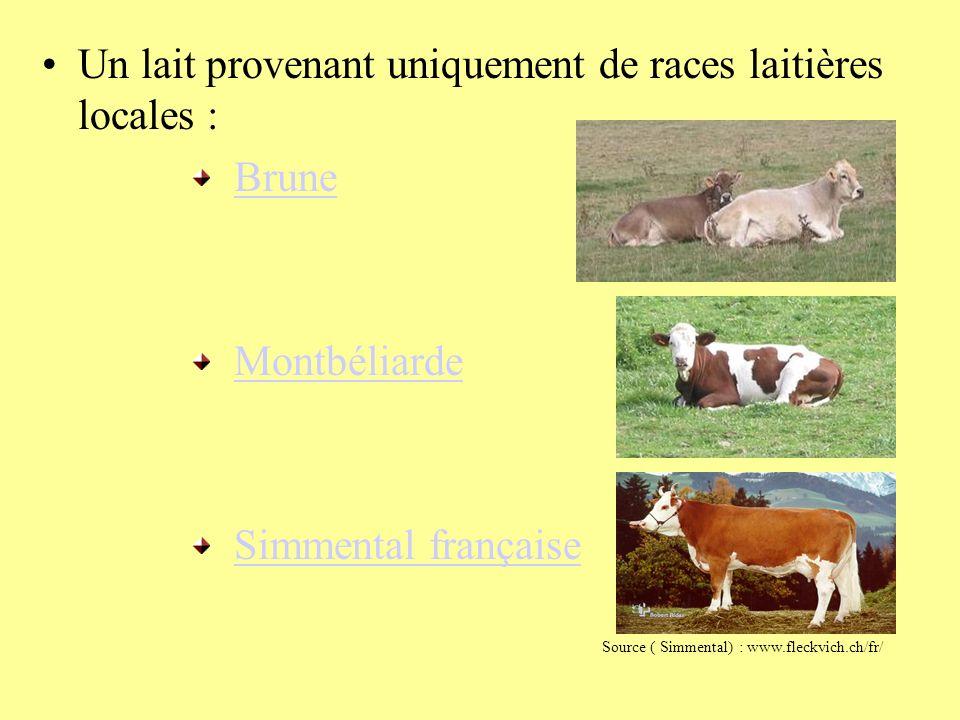 Un lait provenant uniquement de races laitières locales : Brune Montbéliarde Simmental française Source ( Simmental) : www.fleckvich.ch/fr/