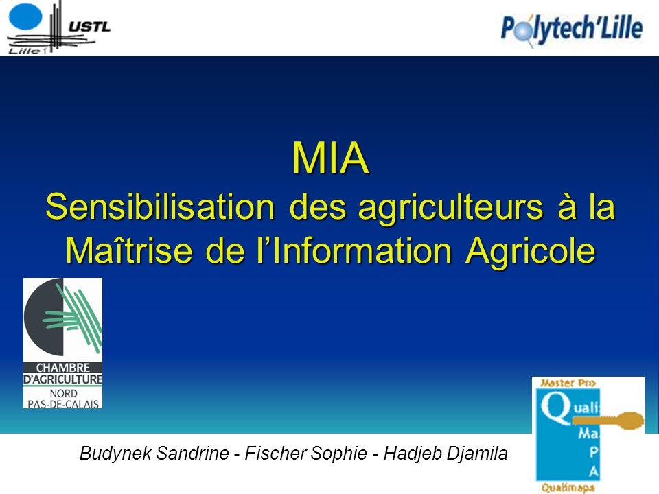 MIA Sensibilisation des agriculteurs à la Maîtrise de lInformation Agricole Budynek Sandrine - Fischer Sophie - Hadjeb Djamila