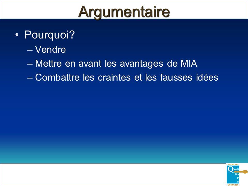 Argumentaire Pourquoi? –Vendre –Mettre en avant les avantages de MIA –Combattre les craintes et les fausses idées
