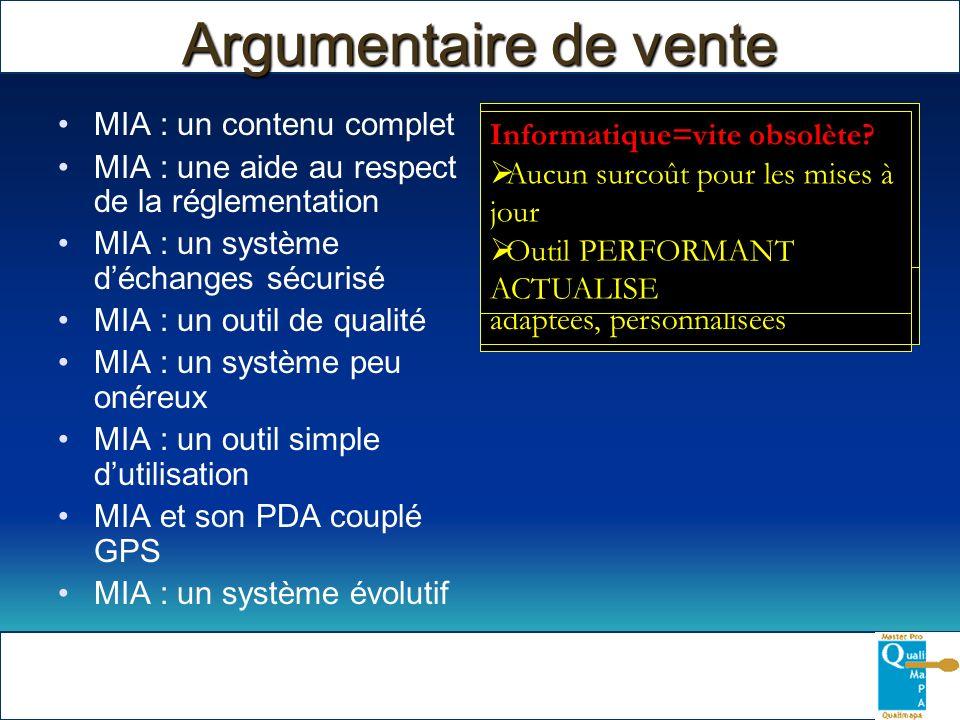 Argumentaire de vente MIA : un contenu complet MIA : une aide au respect de la réglementation MIA : un système déchanges sécurisé MIA : un outil de qu