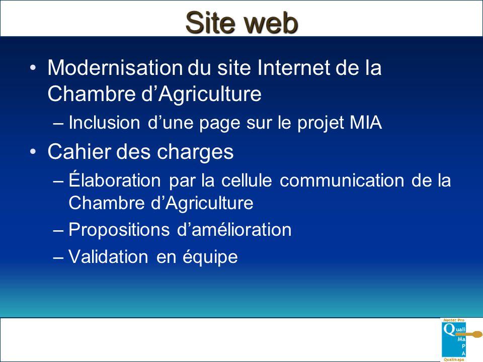 Modernisation du site Internet de la Chambre dAgriculture –Inclusion dune page sur le projet MIA Cahier des charges –Élaboration par la cellule commun