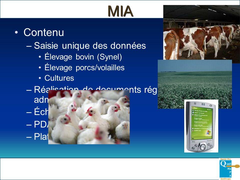 MIA Contenu –Saisie unique des données Élevage bovin (Synel) Élevage porcs/volailles Cultures –Réalisation de documents réglementaires et administrati
