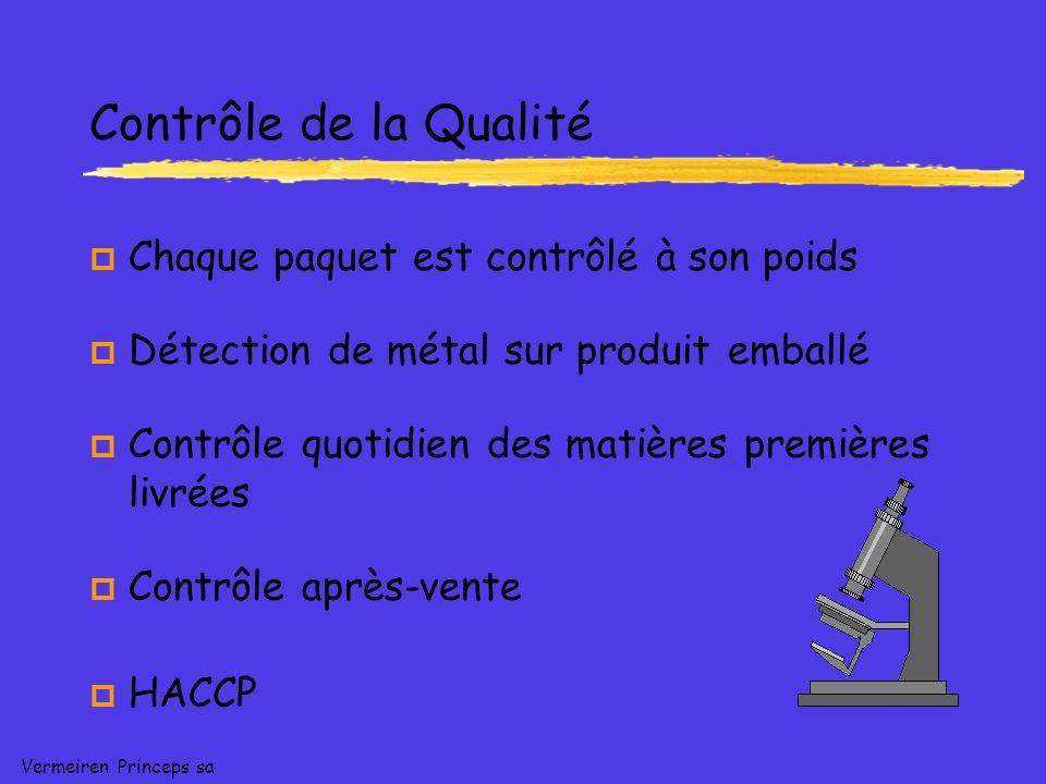 Vermeiren Princeps sa Contrôle de la Qualité p Chaque paquet est contrôlé à son poids p Détection de métal sur produit emballé p Contrôle quotidien des matières premières livrées p Contrôle après-vente p HACCP