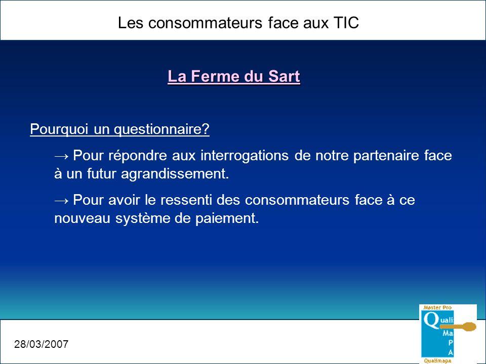 Les consommateurs face aux TIC 28/03/2007 La Ferme du Sart Pourquoi un questionnaire? Pour répondre aux interrogations de notre partenaire face à un f