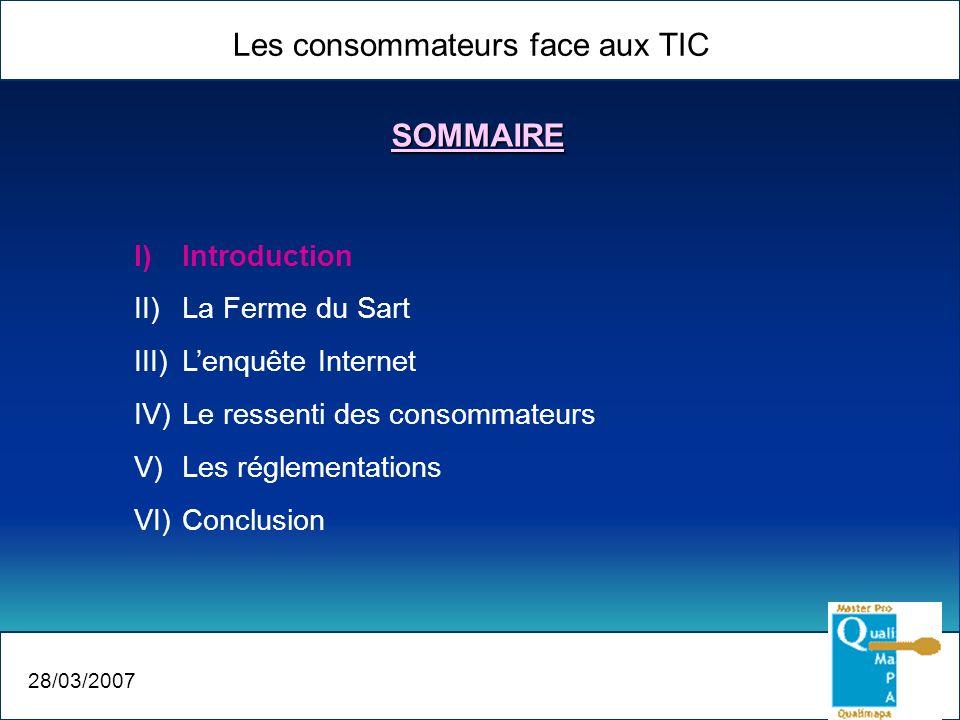 Les consommateurs face aux TIC 28/03/2007 I)Introduction II)La Ferme du Sart III)Lenquête Internet IV)Le ressenti des consommateurs V)Les réglementati