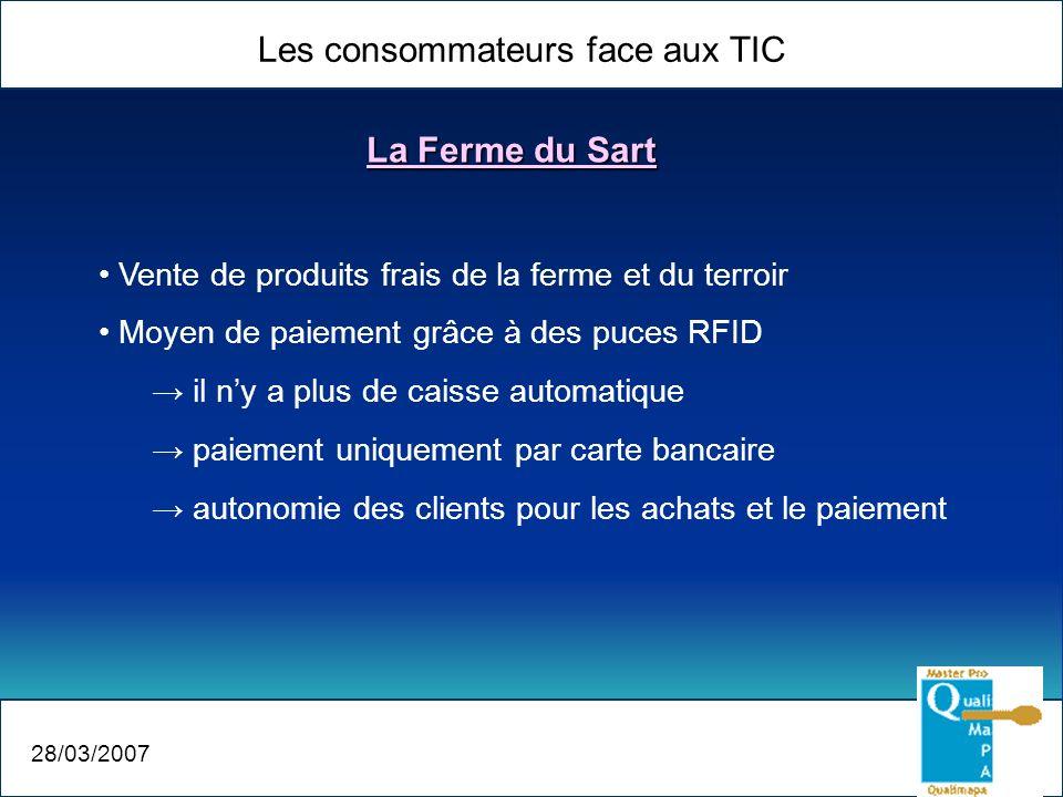 Les consommateurs face aux TIC 28/03/2007 La Ferme du Sart Vente de produits frais de la ferme et du terroir Moyen de paiement grâce à des puces RFID