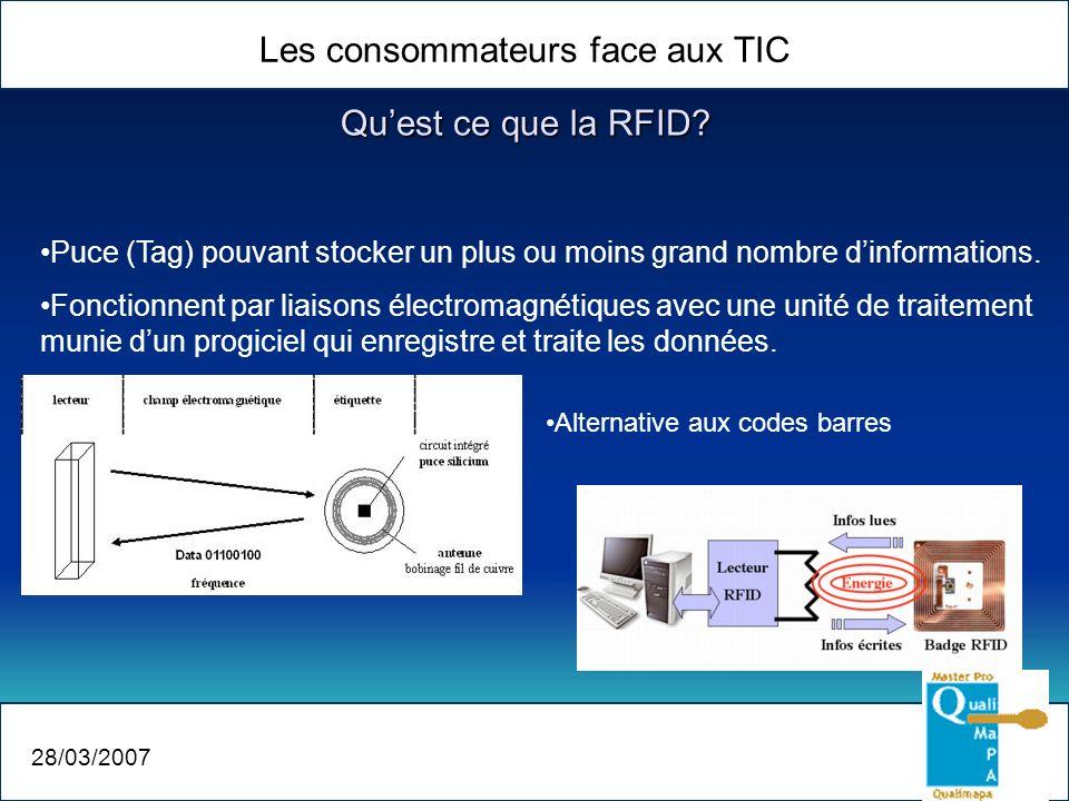 Quest ce que la RFID? Les consommateurs face aux TIC 28/03/2007 Puce (Tag) pouvant stocker un plus ou moins grand nombre dinformations. Fonctionnent p
