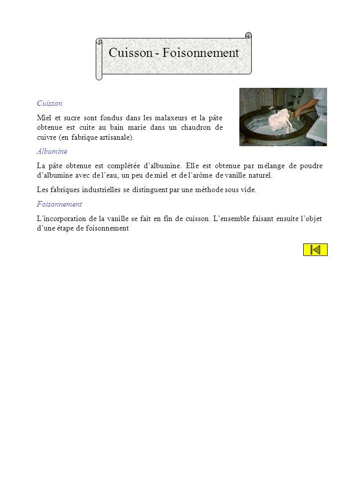 Cuisson - Foisonnement Cuisson Miel et sucre sont fondus dans les malaxeurs et la pâte obtenue est cuite au bain marie dans un chaudron de cuivre (en fabrique artisanale).