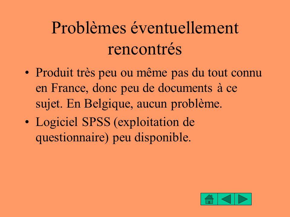 Problèmes éventuellement rencontrés Produit très peu ou même pas du tout connu en France, donc peu de documents à ce sujet. En Belgique, aucun problèm