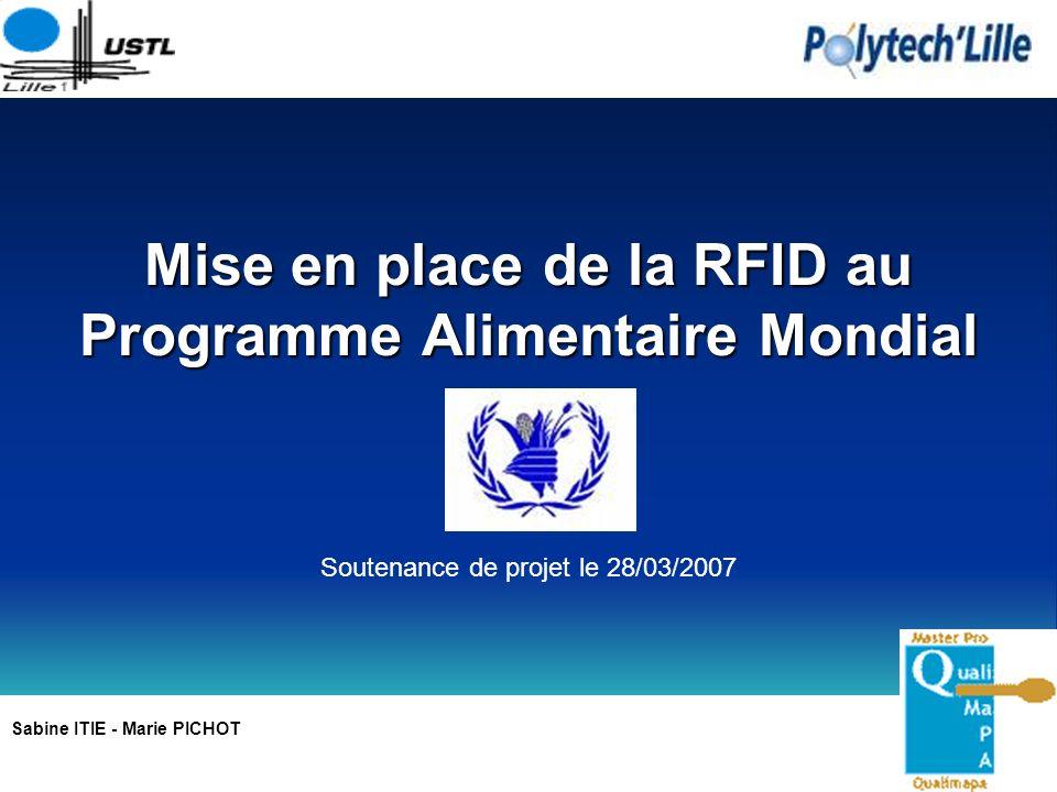 Mise en place de la RFID au Programme Alimentaire Mondial Sabine ITIE - Marie PICHOT Soutenance de projet le 28/03/2007
