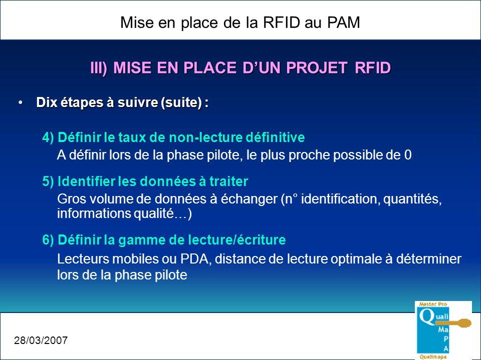Mise en place de la RFID au PAM 28/03/2007 III) MISE EN PLACE DUN PROJET RFID Dix étapes à suivre (suite) :Dix étapes à suivre (suite) : 4) Définir le