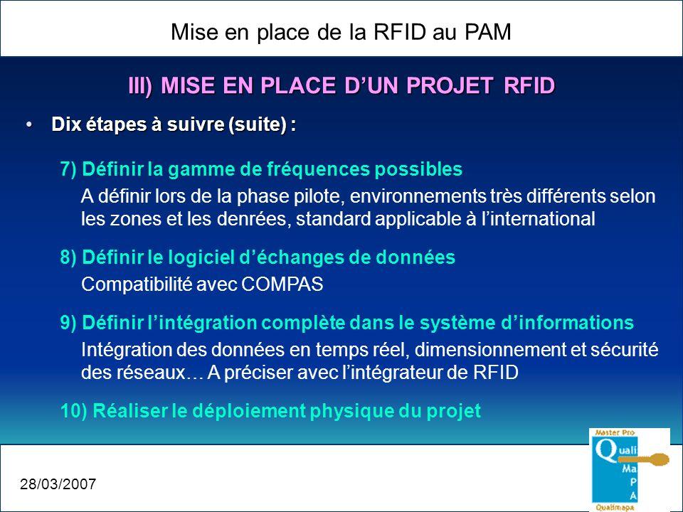 Mise en place de la RFID au PAM 28/03/2007 III) MISE EN PLACE DUN PROJET RFID Dix étapes à suivre (suite) :Dix étapes à suivre (suite) : 7) Définir la