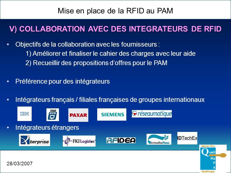 Mise en place de la RFID au PAM 28/03/2007 V) COLLABORATION AVEC DES INTEGRATEURS DE RFID Objectifs de la collaboration avec les fournisseurs : 1) Amé